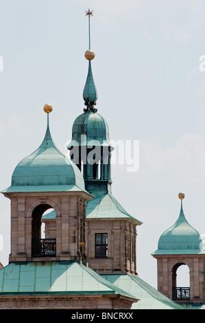 Nuremberg old town hall (altes rathaus) spires - Stock Photo