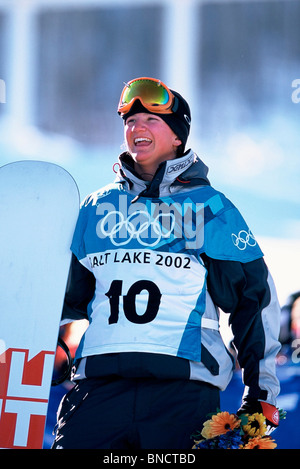 Kelly Clark (USA) gold medal winner in the halfpipe at the 2002 Olympic Winter Games, Salt Lake City, UT, USA - Stock Photo