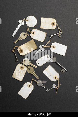 Old keys with labels without writing on them - Stock Photo