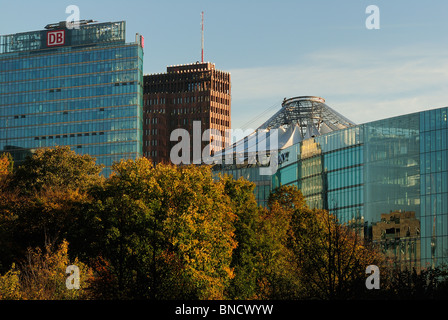 Potsdamer Platz. Skyline seen from the Grosser Tiergarten park, with DB Tower, Kollhoff building, Sony Center, Berlin, - Stock Photo