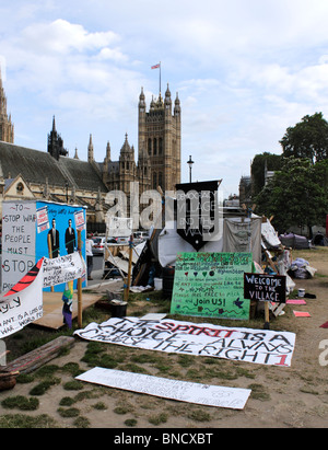 Democracy Village Peace Camp in Parliament Square Westminster London 6 July 2010 - Stock Photo