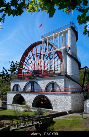 Isle of Man waterwheel at Laxey to pump water from mines, Laxey, Isle of Man, Europe - Stock Photo