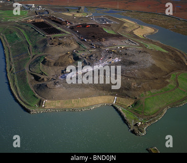 aerial view above West Contra Costa Sanitary Landfill Richmond California - Stock Photo