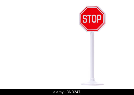 traffic sign 'stop' on white background - Stock Photo