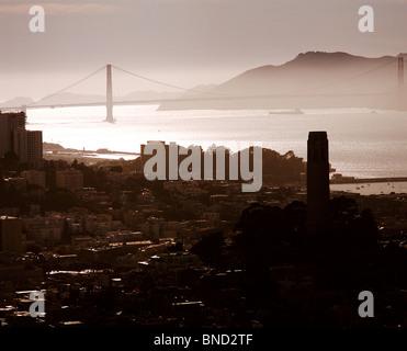 aerial view above Coit Tower Telegraph Hill Golden Gate bridge San Francisco California - Stock Photo