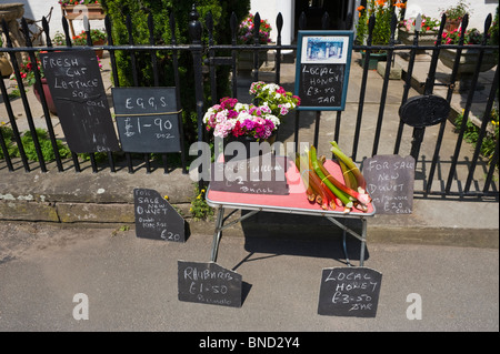Street stall selling fresh produce on table outside house in Hay-on-Wye Powys Wales UK - Stock Photo