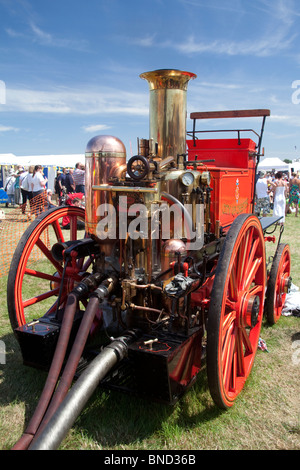 Vintage fire pump of the Chester City Fire Brigade on display at Cheshire Show, Knutsford, England. - Stock Photo