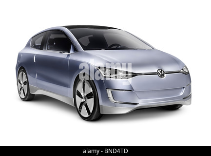 2010 Volkswagen Up! Lite Concept hybrid diesel fuel efficient city car. Isolated with clipping path on white background. - Stock Photo