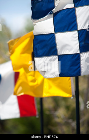 Three bright, colorful flags flying on a windy day
