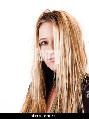 thinking sad cute girl blonde - Stock Photo