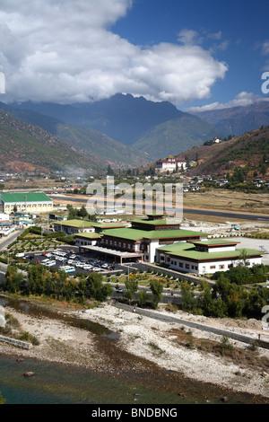 View of Paro airport and it's surrounding valley scene in Paro, Bhutan. - Stock Photo