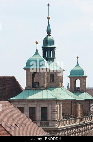 Nuremberg town hall spires - Stock Photo
