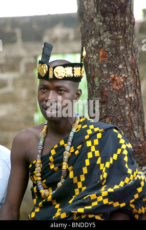 Africa, Togo, Kpalime Valley. Rural Togolese village. Tribal elders welcome ritual ceremony, tribal chief. - Stock Photo