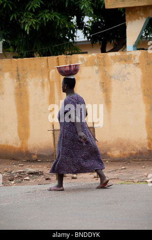 Africa, Togo, Kpalime Valley. Rural Togolese village. Typical street scene. - Stock Photo