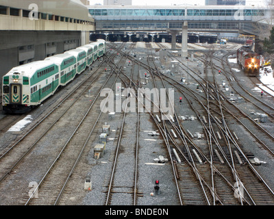 Railway Tracks Leading To Toronto Union Station From The CN Tower - Stock Photo
