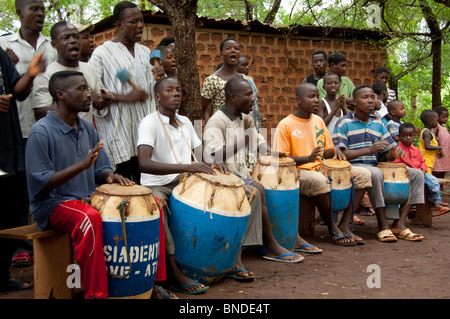 Africa, Togo, Kpalime Valley. Rural Togolese village. Local welcome drummer group. - Stock Photo