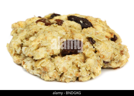 Oatmeal raisin cookie on white - Stock Photo