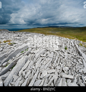 Limestone rock formations, Black mountain, Brecon Beacons national park, Wales - Stock Photo