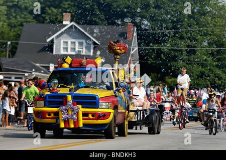 Bubble Truck in Oldest Continuous Independence Day Parade in America in New Pekin, Indiana - Stock Photo
