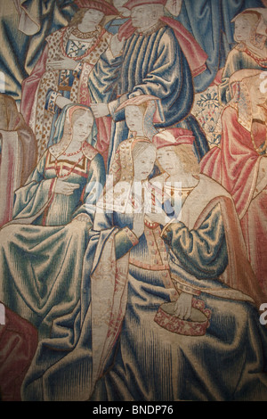Tapestry in a royal palace, Great Hall, Hampton Court Palace, London, Surrey, England - Stock Photo