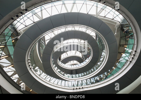 Helical walkway in a city hall, Southwark, London, England - Stock Photo