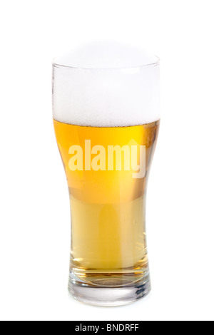 Fresh beer in a glass isolated on white background. - Stock Photo