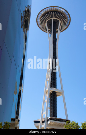 Space Needle and Experience Music - Science Fiction Museum, Seattle, WA - Stock Photo