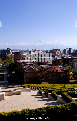 View from Cascade, Yerevan, Armenia with Mount Ararat - Stock Photo