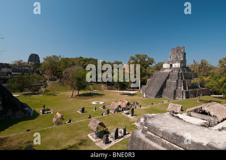 High angle view of a temple, Tikal Temple II, Great Plaza, Tikal National Park, Tikal, Guatemala - Stock Photo