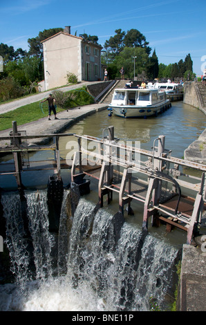 Lock on the Canal du Midi near Carcassonne, Languedoc, France - Stock Photo