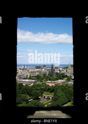 The View from Edinburgh Castle, shot through a gun emplacement, Edinburgh, Scotland, with the National Gallery - Stock Photo