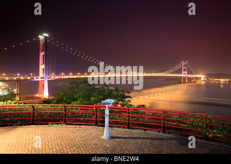 Tsing Ma Bridge from Lantau Link View Point. Hong Kong - Stock Photo