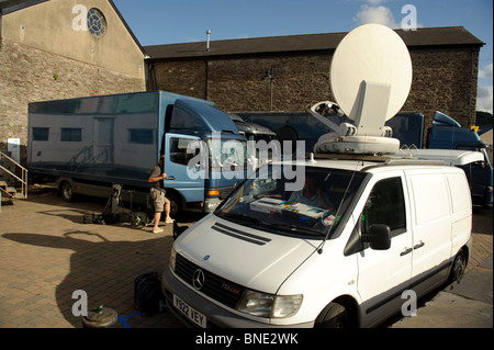 Outside broadcast vans broadcasting a television programme live, Wales UK - Stock Photo