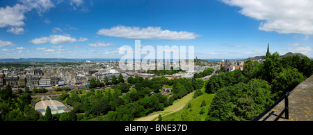 Panoramic  View from Edinburgh Castle, over Princes Street and Princes Street Gardens, Edinburgh, Scotland - Stock Photo