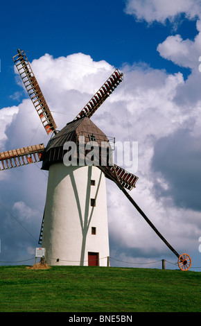 Low angle view of a traditional windmill, Skerries Mills Museum, Skerries, County Dublin, Ireland - Stock Photo