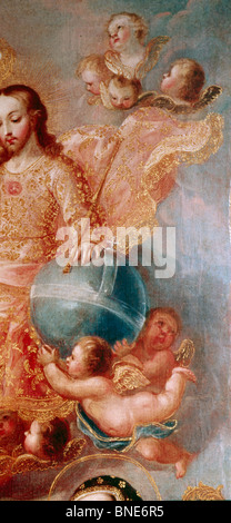 Religious Scene by unknown American artist  oil painting  detail  18th century  USA  Pennsylvania  Philadelphia - Stock Photo