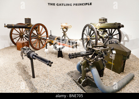 An exhibit of early machine guns in the Royal Armouries Museum, Leeds - Stock Photo