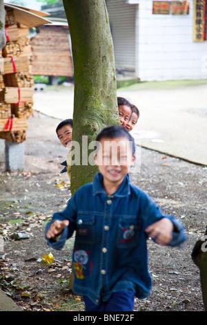 Children playing near Guilin in Guangxi Province, China - Stock Photo