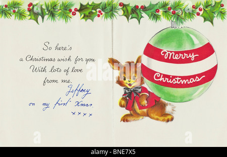 TO MOTHER AT CHRISTMAS inside of Hallmark Xmas card from 1950s to a mother from her son on his first Christmas, - Stock Photo