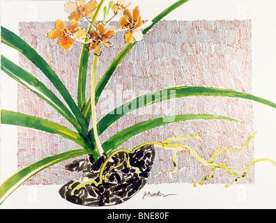 Golden Orchid II  1990  John Bunker (20th C. American)  Watercolor and metallics - Stock Photo