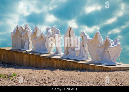 Sculptures representing 'The Last Supper' in a museum, Goldwell Open Air Museum, Rhyolite Ghost Town, Nevada, USA - Stock Photo
