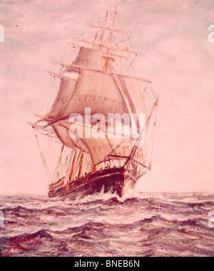 Sailing Ship from 19th Century,  by Joseph Links,  20th Century - Stock Photo
