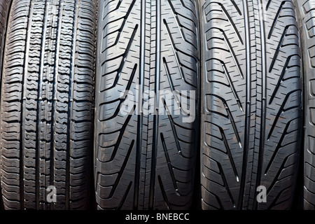 Black car Tire close up shot - Stock Photo