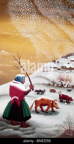 The First Snow by Ivan Generalic, (1914-1992) - Stock Photo