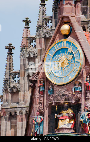 Closeup detail of the 'Church of our Lady' in Nuremberg. Germany. - Stock Photo