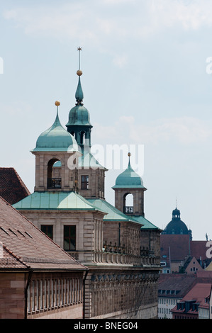 Nuremberg old town hall (altes rathaus) spires, Bavaria, Germany. - Stock Photo