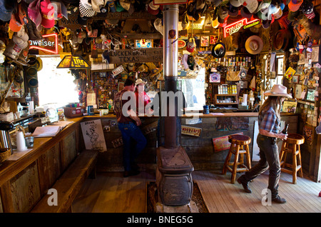 Visitors In The Luckenbach Bar Hill Country Texas, North America, USA - Stock Photo