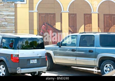 Horse power wall painting graffiti, Texas, USA - Stock Photo