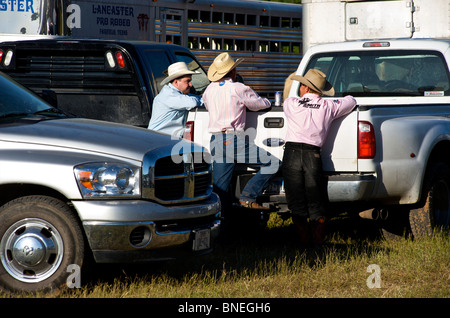 Cowboy members of PRCA gathered for rodeo event in Bridgeport, Texas, USA - Stock Photo