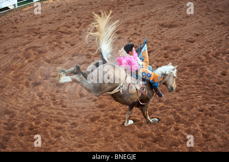 Horse trying to throw rodeo cowboy member of PRCA from its back in Smalltown Texas Bridgeport - Stock Photo